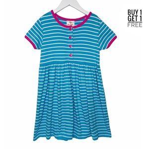 Hanna Andersson Blue Stripe / Pink Dress 120 6X/7